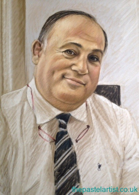 A pastel portrait of Professor Tim Briggs, The Royal National Orthopaedic Hospital