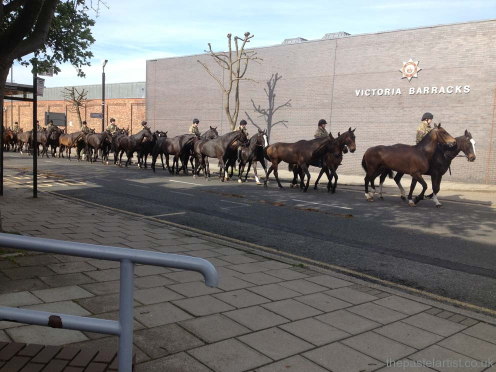Exercising the horses at 7 am - I see them as I leave the car park and know I'm in the right place!