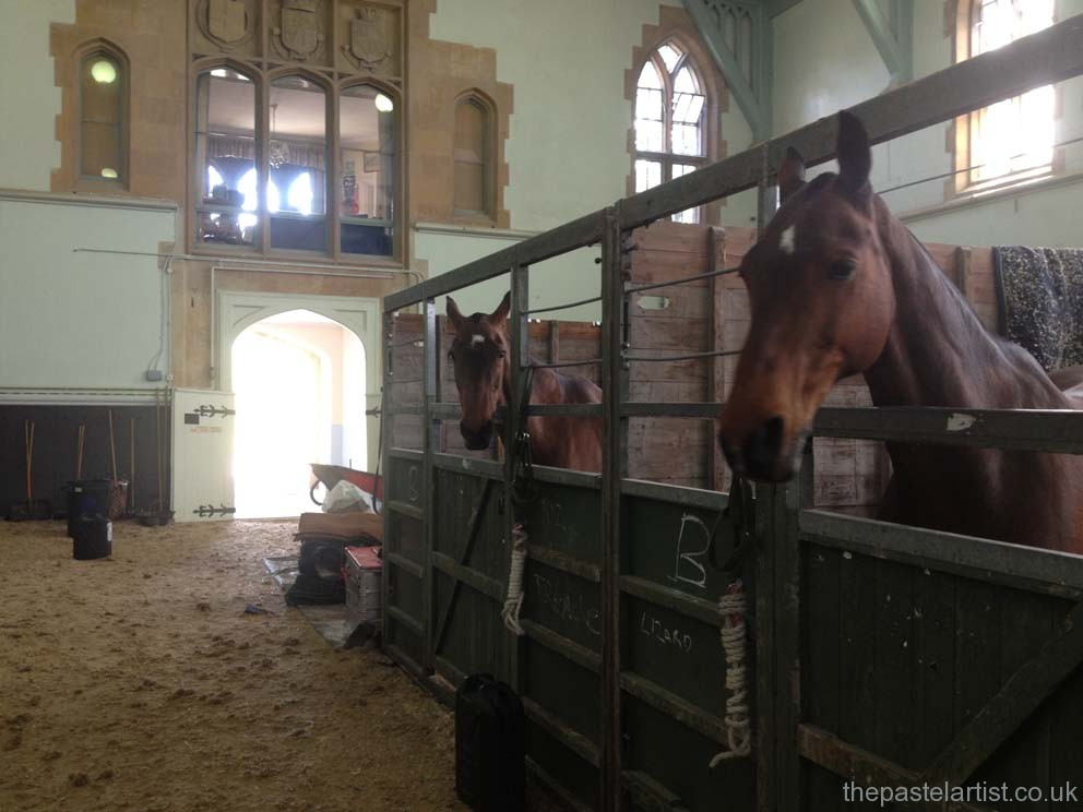 The inside school at Windsor Castle - temporary housing for The Troop horses.