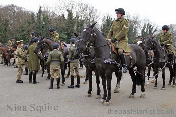 The King's Troop Royal Horse Artillery training for The Royal Windsor Horse Show in May