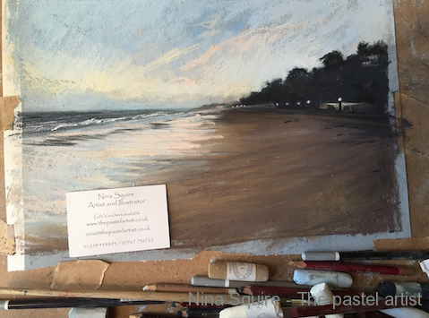 Pastel painting of Sandbanks, Poole