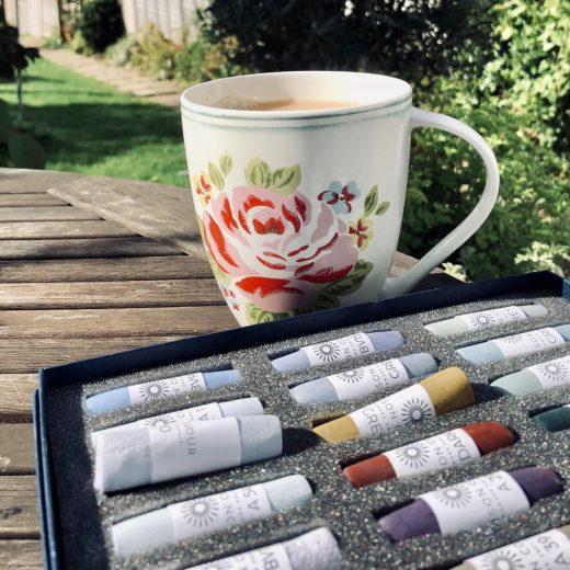 Tea and art materials