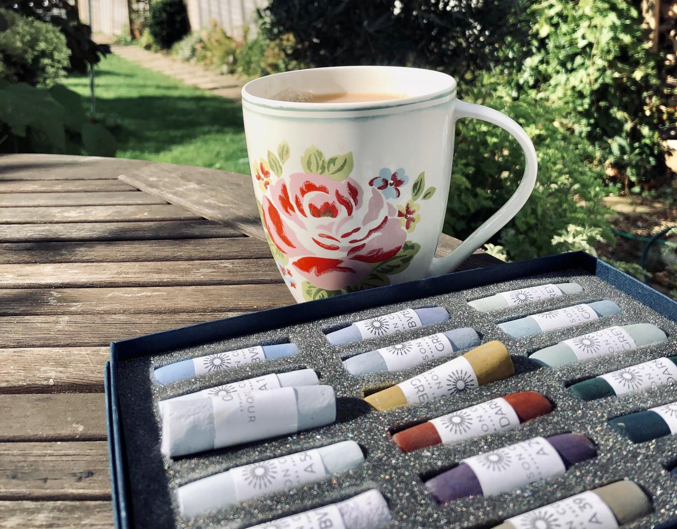 Tea and art materials